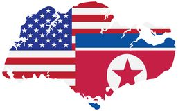 North Korea USA Summit 2018 vector illustration. North Korea USA 2018 Summit Flags in Singapore Map Outline Color vector Illustration Royalty Free Stock Images