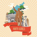 North Korea vector card with korean landmarks on background with sunrise. North Korea travel banner Stock Photo