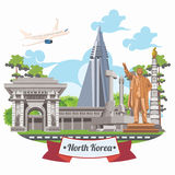 North Korea vector card with korean symbols on light background. North Korea set Royalty Free Stock Photos