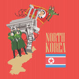North Korea vector card with korean symbols on red background. North Korea set Stock Images