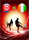 North Korea versus Ivory Coast on Abstract Red Light Background Royalty Free Stock Image