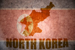 North korea vintage map. North korea map on a vintage korean flag background royalty free stock photo