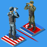 North Korea vs USA Crisis Concept Infographic. Vector illustration of North Korea soldier against USA US soldier. Crisis of Korea international relations Stock Images