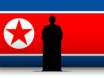 North Korea War Speech Tribune Silhouette with Fla. Vector - North Korea War Speech Tribune Silhouette with Flag Background Royalty Free Stock Images