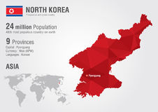 North Korea world map with a pixel diamond texture. Stock Photos