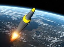 North Korean Ballistic Missile On Background Of Earth. 3D Illustration royalty free illustration