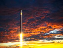 North Korean Ballistic Rocket Launch On Background Of Apocalyptic Sky Royalty Free Stock Images