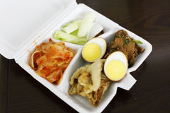 North korean fast-food. Lunch Box North korean fast food,it contains eggs. Kimchi. fish cucumber, beef,nutrition is rich Stock Images