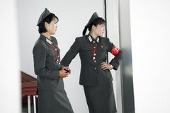 North korean female soldiers. Two North korean female soldiers are on duty Stock Images