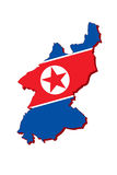 North Korean flag map. Royalty Free Stock Photos
