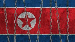 North Korean flag painted on the wall. North Korean flag painted on the wall background royalty free stock images