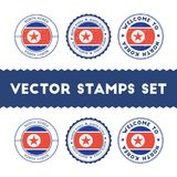 North Korean flag rubber stamps set. Royalty Free Stock Image