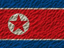 North Korean flag on the wall. North Korean flag on the wall background stock photos