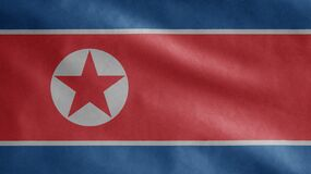 Free North Korean Flag Waving In The Wind. Close Up Of Korea Banner Blowing Soft Silk Royalty Free Stock Photos - 216033178