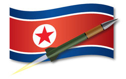 North Korean missile. North Korean flag in the background with a launched missile in front Royalty Free Stock Images