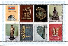 North Korean old postage stamp Stock Photos