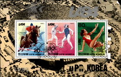 North Korean old postage stamp Royalty Free Stock Photo