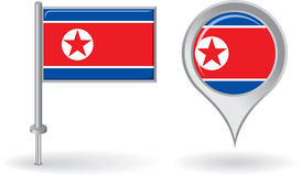 North Korean pin icon and map pointer flag. Vector Stock Image
