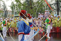 North Korean Pyongyang folk dancers Royalty Free Stock Photo