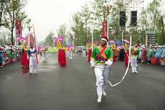 North Korean Pyongyang folk dancers Royalty Free Stock Photos