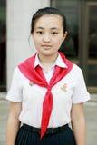 North Korean schoolgirl Stock Images