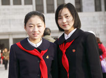 North Korean schoolgirls Royalty Free Stock Photo