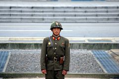 North Korean soldier at the DMZ Stock Photography