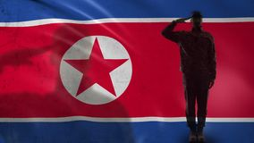 North Korean soldier silhouette saluting against national flag special operation. Stock footage stock footage