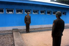 North Korean soldiers in the DMZ Stock Images