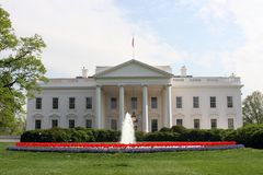 North Lawn. View of the white house in Washington, DC from the north entrance Stock Image