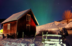 North lights hut Royalty Free Stock Images