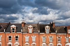 London houses. North London houses against cloudy sky Stock Images