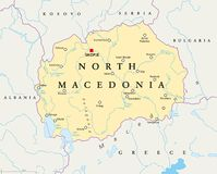 North Macedonia political map royalty free stock photo