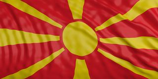 North Macedonia waving national flag background texture. 3d illustration stock photography