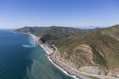North Malibu Aerial Pacific Coast Highway. Aerial of Pacific Coast Highway winding past Sycamore Cove State Park north of Malibu in Southern California Royalty Free Stock Photo