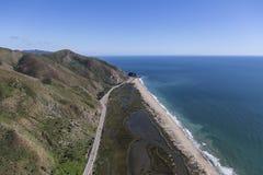 North of Malibu California. Aerial view of Pacific Coast Highway and Mugu Rock north of Malibu in Ventura County, California Royalty Free Stock Image