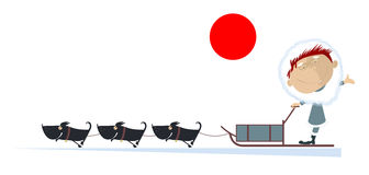 North man rides on the sled dog. Funny man rides on the sled dog vector illustration