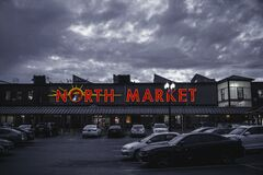 North Market Signage Building Under Gray Sky Stock Photos