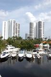 North Miami Beach Condos and Marina. Aview of a north miami beach marina on the intercoastal waterway with high rise luxury condominiums in the background Royalty Free Stock Photos