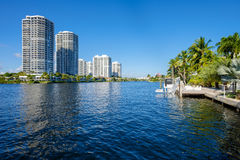 North Miami Waterway. North Miami Intracoastal Waterway with condominiums stock photography