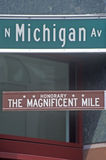 North Michigan Avenue and The Magnificent Mile Signs, Chicago, Illinois Royalty Free Stock Photos