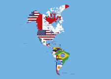 North, Middle and South America Flags Map Names  Stock Images