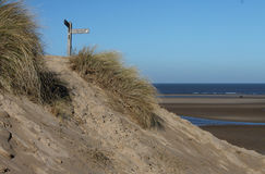 North Norfolk coastal footpath, beach scene. Royalty Free Stock Image