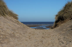 North Norfolk coastal footpath, beach scene. Stock Photo