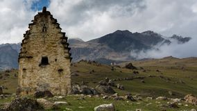 North Ossetia, the formation of clouds in the ancient settlement with a thousand year history -Tsymyti. stock video