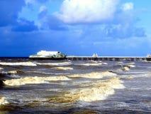 The North Pier at Blackpool, November. A stormy rough sea at the North pier in November, Blackpool, Lancashire, England, UK Royalty Free Stock Photo