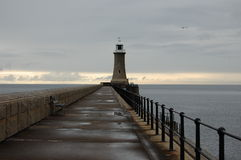North pier lighthouse at Tynemouth Royalty Free Stock Image