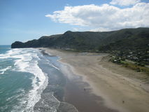 North Piha Beach, New Zealand. View on the North Piha Beach from the Lion Rock stock photo