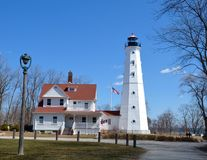 North Point Lighthouse. This is a Pring picture of the North Point Lighthouse in Milwaukee, Wisconsin. The 74 foot high lighthouse was first lit in 1888 and stock photo