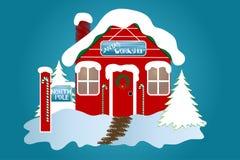 The North Pole. Santa's Workshop over a blue background royalty free illustration